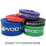 WOD Nation Resistance Band Fitnessband | Rotes Band 22-77 kg (10-35 lbs) | Perfekte Klimmzughilfe für Muskelaufbau, Übungsband für Pull Ups, Chin Ups, Mobilitätstraining und Ring Dips beim CrossFit-Training