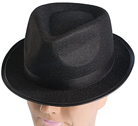 Black Hip Hop Felt Fedora Adult Costume Hat