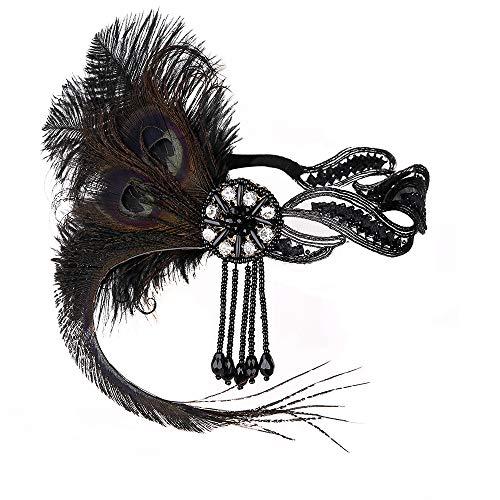 JISEN Damen 1920 flapper weinlese-pfau-feder gatsby wulstige troddel kopfstück einheitsgröße schwarz (Pfau Kostüm Für Jugendliche)