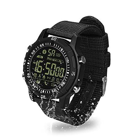 Sport Smartwatch, Hizek Wasserdichte Armbanduhr Outdoor-Fitness Sportuhr Schrittzähler Kalorienzähler für iPhone X/8/7/7Plus, Samsung, Huawei, Xiaomi, LG -- Schwarz