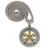 MKHDD Hombres Hip Hop Rhinestone Zircon Hoja de cáñamo Puede Girar Collar Colgante Redondo Crystal Weed Link Cadenas Regalo de la joyería,Gold