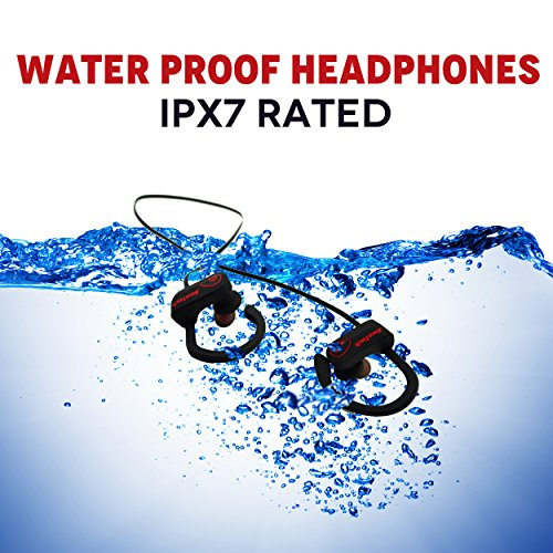 JiwaTech INSPIRE - Wireless Bluetooth Earphone Headphone with Mic, IPX7 Waterproof & Sweatproof - Best Sports Headphones - Bonus Carry Pouch & Sports ArmBand