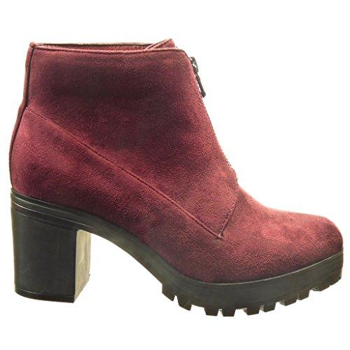 Talon CM Mode Desert femme 7 Bordeaux Bottine Boots Chaussure plateforme bloc haut Angkorly IPxC5wq0C