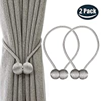 NEXCURIO Magnetic Curtain Tiebacks, 2 Pack Window Tie Backs Holders for Home Office Decorative Rope Holdbacks Classic Tiebacks Design, 16 Inch Long (Grey)