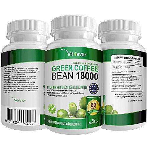 Preisvergleich Produktbild Green Coffee Bean Burn - 50% GCA - 180 Kapseln - Extra stark - Hochdosierter Grüner Kaffee Bohnen Extrakt - Natürlich - Vegan - Vit4ever