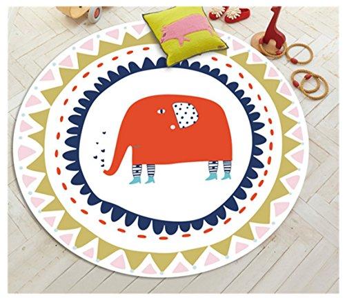 Rund Kinder Erwachsener Cartoon Tier faltbare Bodenmatte Sportmatte kriechende Matte Anti-Rutsch-Matte Teetisch Teippich (100 cm, Elefant)