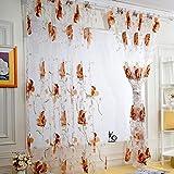 Veyikdg, 1 tenda a pannello, 250 cm x 100 cm, per camera da letto, soggiorno, cucina, con foglie in tulle, per porta e finestra, tenda a pannello velata con mantovane, Brown, Taglia unica