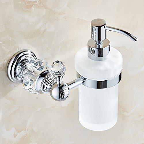 Kristall Weinlese Wandmontierte Flüssigseifen spender pumpe, Seife / Lotion Dispenser Mattglas Serie Glass / Chrom (Silber) HK-38L
