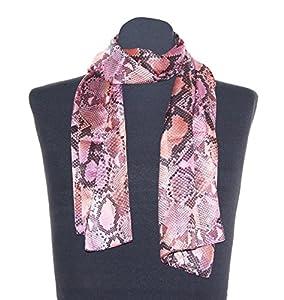 Schlangenmuster Schal Marion schwarz rosa, Schaltuch ca. 36 x 160 cm, auffälliges Damen Halstuch im Schlangen Design