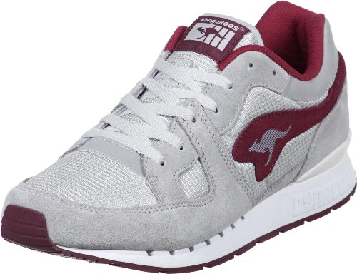 KangaROOS Coil-R1-Basic, Baskets mode homme Multicolore - gris/bordeaux (Semi Grey Burgundy)