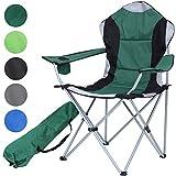 MIADOMODO Campingstuhl in 4 hoher Lehne, Getränkehalter & Tragetasche, Gartenstuhl bis zu 100 kg belastbar