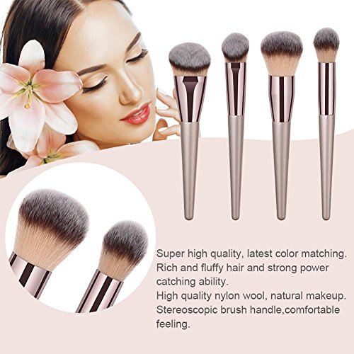 Brochas para Maquillaje Facial,  Everpert Brocha de Maquillaje,  Profesional Mango de Madera Belleza Pinceles de Maquillaje,  8pcs (E)