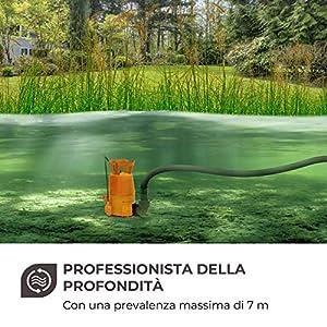 Waldbeck Nemesis-T400S - Pompa ad Immersione, Pompa per Laghetto, Pompa da Giardino, 400 W, 7000 Litri/h, Portata 7 m, Cavo 10 m, Adattatore per Diversi Tubi Incluso, Arancione