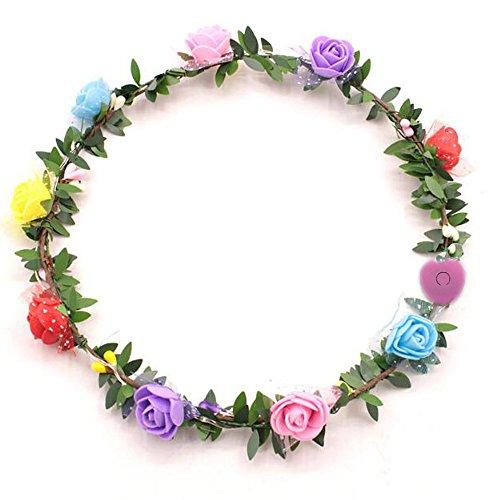 QIANGUANG LED Blume Garland Stirnband Crown Blumen Kopfschmuck Haar Kranz Kopfschmuck mit LED-Dekor für Frauen Damen Mädchen Fashion Holiday Festival Hochzeit Beach Party (Farbe zufällig) (1PEC)