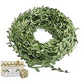 131 Ft / 40m Vitigni foglie artificiali,MOOKLIN raso nastro foglia per cerimonia / di festa fai da te decorazione / nozze decorazione (Verde scuro)