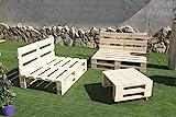 Palets Talavera SL Conjunto 2 Sofas Palet Europeo + 1 Mesa Interior/Exterior - Nuevo A ESTRENAR-Natural