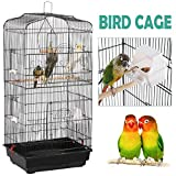 Yaheetech Large Metal Bird Cage for Budgies Lovebirds Finches Cockatiels Canary Tall Parrots Cage Hanging Cage Sun Conure Indian Ring Neck Green Cheek Parakeet Travel Bird Cage Black