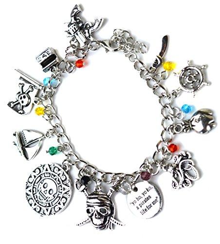 Beaux Bijoux Fluch der Karibik Charm Armband - Silberton Totenkopf, Schwert und Schiff Charms in Geschenkbox (Sparrow Medaillon)