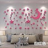 HCCY 3D massive Wand kreativ warmes Bett für Kinder acryl Aufkleber für die Leiter der Sterne crystal Sofa im Wohnzimmer Aufkleber Bild, rosa, groß