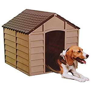 Home Source -Outdoor Plastic Garden Dog Kennel Pet Shelter Dark Brown Weather Proof