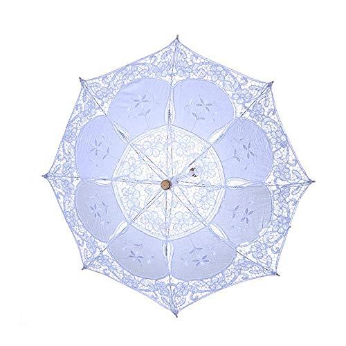 Blumen Viktorianischen Mädchen Kostüm - AOLVO Hochzeits-Sonnenschirm mit Spitze, Foto-Requisite, Regenschirm für viktorianische Dame, Kostüm-Accessoire, Braut-Party-Dekoration, weiß, Large