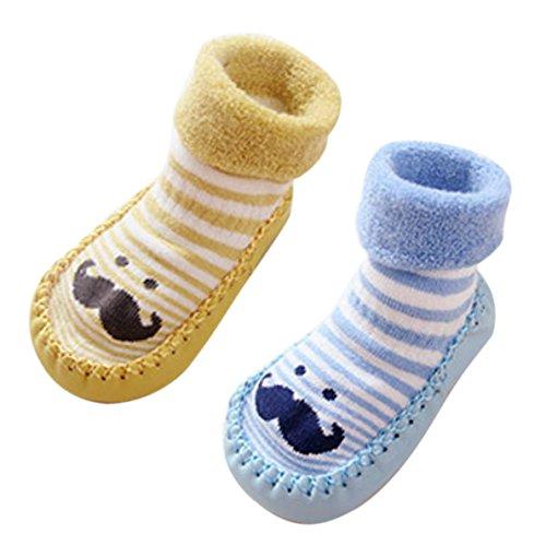 Socquette Bébé avec Semelle Cuir Soft Chaussette Planche pour Automne Hiver Jaune + Bleu