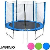 Preisvergleich für Jawinio Trampolin 305 cm (10F) Gartentrampolin Jumper Komplett-Set inkl. Leiter, Sicherheitsnetz und Sprungmatte Grün, Pink Oder Blau