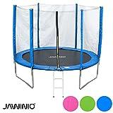 Jawinio Trampolin 305 cm (10F) Gartentrampolin Jumper Komplett-Set inkl. Leiter, Sicherheitsnetz und Sprungmatte Grün, Pink Oder Blau (Blau)