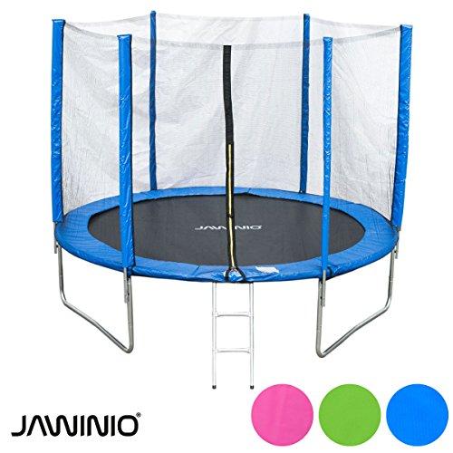 Jawinio Trampolin 244 cm (8F) Gartentrampolin Jumper Komplett-Set inkl. Leiter, Sicherheitsnetz und Sprungmatte Blau, Grün oder Pink (Blau)