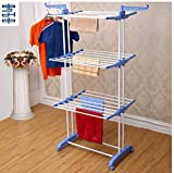 #10: SUNDEX Double Pole Stainless Steel 3 Tier Cloth Drying Rack Stand-Size: (75-126) x 64 x 170 Cm