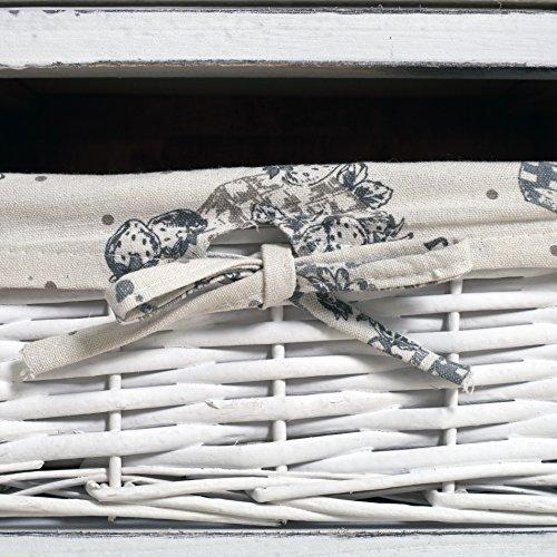 Rebecca Mobili Vetrinetta Bianca, armadietto 1 Anta 2 cassetti, Legno Vimini, Stile Shabby, Arredamento casa Bagno Ingresso - Misure: 104 x 33 x 29 cm (HxLxP) - Art. RE4486 - 6
