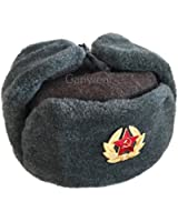Ganwear® Genuine Russian Soviet USSR Army Style Fur Winter Ushanka Cold War Hat Badge Size 58