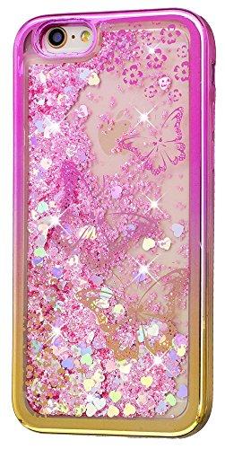 Iphone 6 Plus Coque Silicone, Coque Iphone 6S Plus silicone, Nnopbeclik® (5.5 Pouce) Colorful Paillettes Briller Style Backcover Doux Soft Dégradé de Couleur Housse pour Apple Iphone 6 Plus / Iphone 6 papillon