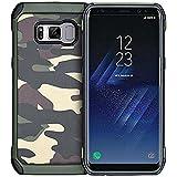 HUKTOR 3-IN-1 Samsung Galaxy S8 Edge Tarnung Mehrfachschutz Hüll + PET Vollständige Abdeckung Schutzfolie + Ringhalter Stoßfest 360-Grad Schutzhülle Handyhülle mit 4 Airbags für S8 +,6.2 Zoll,Grün