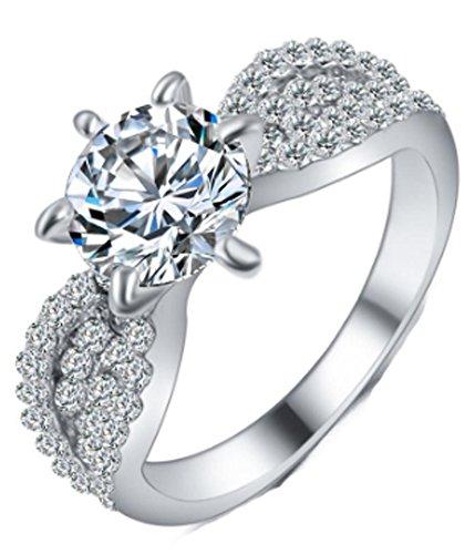 SaySure - Wedding Crystal Rings Rose Gold Color Shininy (SIZE : 8)