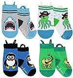 Jungen und Mädchen Kleinkind Socken, nahtlose Zehen, rutschfeste, Pull-up-Schleifen (1-3 Jahre, Shark-Octopus-Penguin-Frog)