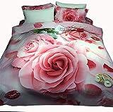 Unbekannt Mali 3D Große Blume Ölgemälde Bettbezug Aktiv Baumwolle Blätter Bettwäsche 4-Teiliges Set Bettbezug * 1 + Bettwäsche * 1 + Kissenbezug * 2 Geeignet 1,5/1,8 M,H
