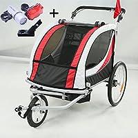 Style home® 2 in 1 Fahrradanhänger Kinderanhänger 360° drehbar Vorrad Kinderwagen für 1-2 Kinder Jogger Buggy Radanhänger Transportanhänger mit Kupplung und Beleuchtung 3 Farbauswahl