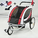 Stylehome® Fahradanhänger Kinderwagen 2 in 1 Kinderanhänger 360° drehbar Vorderrad für 1-2 Kinder Jogger Buggy mit Kupplung und Beleuchtung (Rot und Weiß)