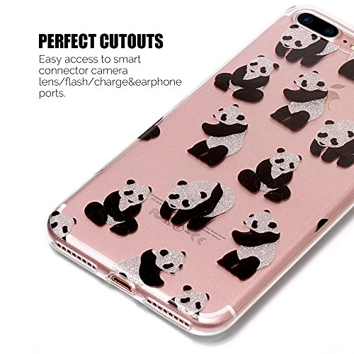 iPhone 7 Plus Hülle , iPhone 8 Plus Hülle , TPU Silikon Bling Glitter Cartoon Tasche Ultra Slim Weich Transparent Clear Schutzhülle Flexibel Rubber Ultradünnen Karikatur iPhone 7 / 8 Plus Etui Fit Cov Panda