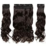 TESS Clip in Extensions wie Echthaar Haarverlängerung Dunkelbraun Haarteile 3 Tressen 8 Clips dicke komplette Haarverdichtung Gewellt 20