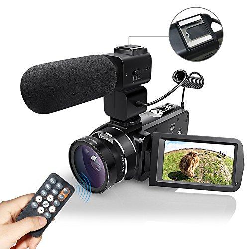 WiFI Caméscope Caméra, Eamplest Télécommande Full HD 1080P 30FPS 24MP 16X Caméra Vidéo Zoom Numérique, Enregistreur Numérique Caméra Numérique avec Microphone Externe et Grand Angle(Z20)