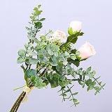 Li HUA Katzen Simulation Blume, Klein Tau Lotus Gladiolen Eukalyptus Blätter Bouquet Künstliche Blume Pflanze Home Hochzeit Grün Pflanze Dekoration, Plastik, Rose, 35 cm