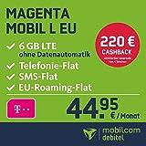 Telekom Magenta Mobil L EU Allnet Flat mit 6GB LTE Internet Flat max. 300 MBit/s,  Telefonie- und SMS-Flat in alle dt. Netze, HotSpot-Flat, EU Flat, 24 Monate Laufzeit, monatlich nur 44,95 € statt 64,95 € + Cashback in Höhe von 220 EUR, Triple-Sim-Karten