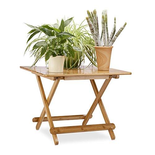 Relaxdays Beistelltisch klappbar in HxBxT: 50 x 65,5 x 65,5 cm, Gartentisch ausziehbar, Klapptisch...