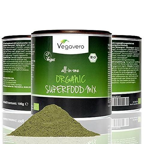 Organic Superfood Detox Powder | 100g of 17 Organic Superfoods | Organic Greens, Seeds, Fruits (Honey Berry)