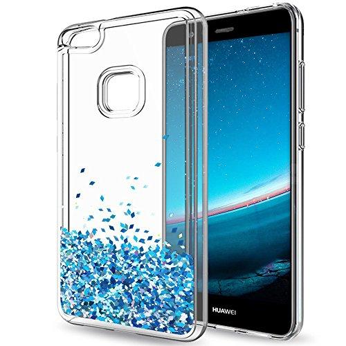 Hülle für Huawei P10 Lite Mosoris Glitzer Flüssig Transparente Dünn Resistante Protection Schutzhülle Case, Luxus Liebe Herz Sparkle Crystal Weich TPU Silikon Bumper Crystal Cover Handyhülle für Huawei P10 Lite, Blau