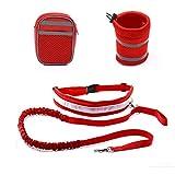 Pet Leine, Han Shi Pet Elastic Hüftgurt Traktion Seil mit Wasser Flaschenhalter + Hund behandelt Tasche, rot