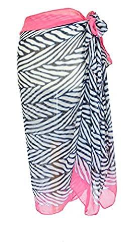 Zebra Stripe Pink Sarong Beach Pool Cover Up Holiday Resort Wear Paero Free Size