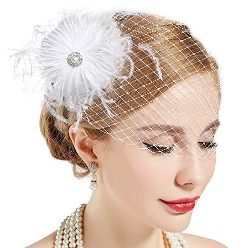 ArtiDeco 1920s Feder Fascinator Haarspange Hochzeit Braut Fascinator Schleier Showgirl Haarclip Gatsby Accessoires Damen Elegant Kopfstück Haar Zubehör (Weiß Stil 2)